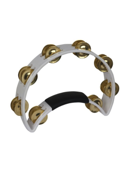 Rhythm Tech RT 1021 Tambourine, White, Brass Jingles