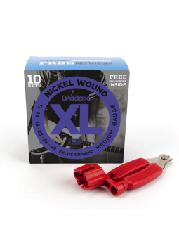Daddario EXL115 Bonus 10 Pack with Red Pro Winder