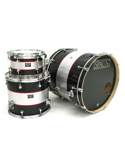 Spaun Drum Co. Custom 3pc-Black & Silver Stripes