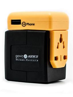 Gavio Jackin Jack Dual USB Traveller Adapter Yellow