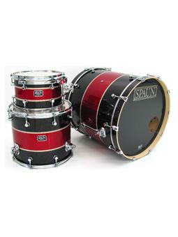 Spaun Drum Co. Custom 3pc-Black & Red Glass