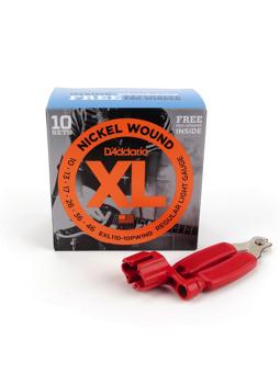 Daddario EXL110 Bonus 10 Pack with Red Pro Winder