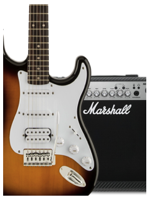 Squier Pack Bullet HSS Sunburst + Marshall MG15CFX