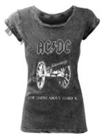 Rock Off T-SHIRT AC/DC About to rock Acid Wash Ladies M